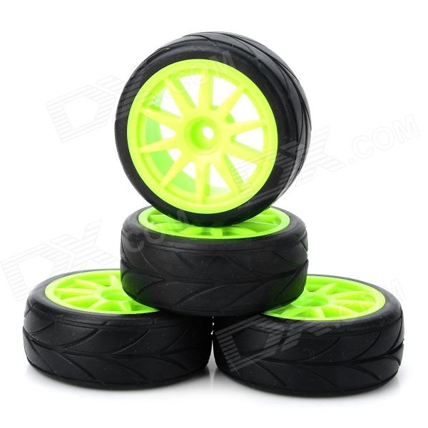 910G-6081 63mm Plastic Tyre Set for 1/10 RC Flat Running Car - Fluorescent Green + Black (4PCS)