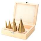 CMT 0976 Pagoda Style Titanium-plated High-speed Steel Drill Bits - Golden (4 PCS)
