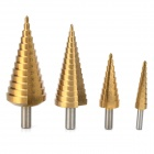 CMT Titanium-plated High-speed Steel Step Drill Bits - Golden (4 PCS)