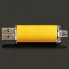 Super Quality Unique Cellphone-used Micro USB to USB 2.0 Flash Drive Disk - Golden Yellow (4GB)