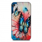 Butterfly Pattern Protective Plastic Back Case for Iphone 4 / 4s - Navy Blue + Black