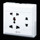 Multifunction 3-Outlet 2-Flat-Pin Plug Power Socket - White (110~250V)