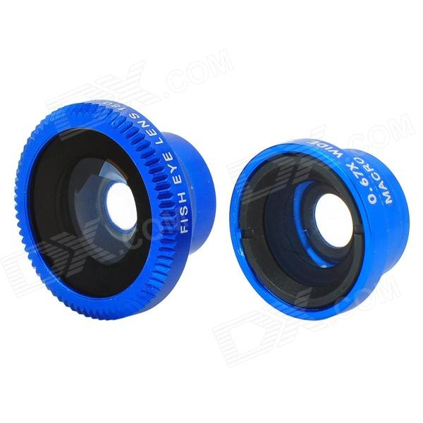 Universal 3-in-1 0.67X  Macro / Wide Angle Lens + Fish Eye Lens for Iphone / XiaoMi - Deep Blue led fill in flash light wide angle macro lens for smartphone white