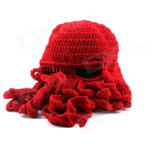 PANNOVO Hand-made Cute Octopus Outdoor Thermal Windproof Caddice Balaclava Helmet Cap Hat - Red