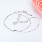 "KCCHSTAR 18K Gold Plating Zinc Alloy ""V"" Necklace w/ Artificial Diamond Pendant - Silver"