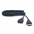 CY HD-141 Spring HDMI Male to Female Video Extension Cable for HDTV / DVB / DVD / PC - Black (120cm)