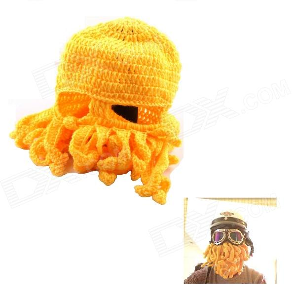 PANNOVO Hand-made Cute Octopus Outdoor Thermal Windproof Caddice Balaclava Helmet Cap Hat - Yellow