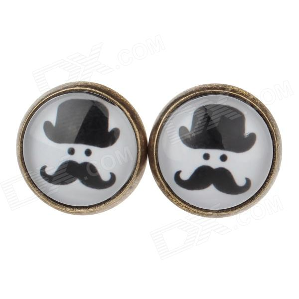 Beard Portrait Pattern Ancient Palace Bronze Ear Studs - White + Black (Pair) tz 8104 electric rotary lever enclosed limit switch