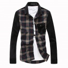 Fashionable Men's Slim Fit Casual Plaid Shirt - Brown (Size-L)