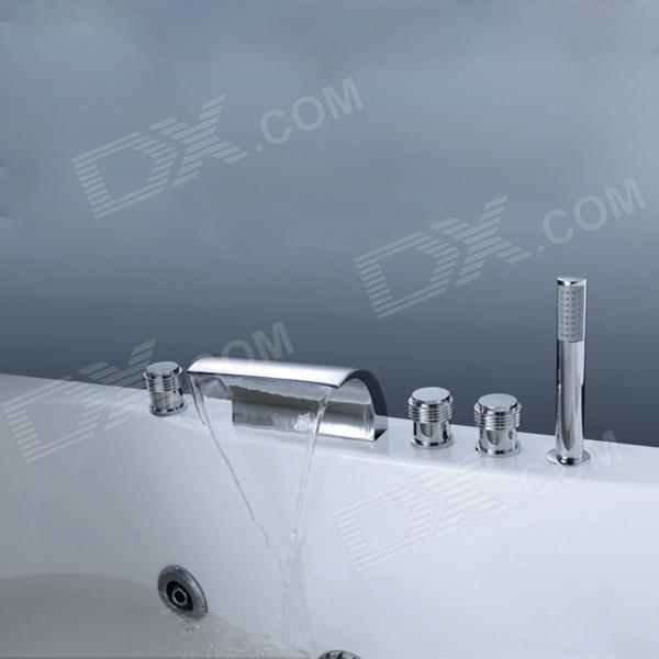 YDL-8010-2 Contemporary Chrome Finish Widespread Waterfall Tub Faucet w/ Handshower - SilverBath Faucets<br>Form  ColorSilverModelYDL-8010-2MaterialBrassQuantity1 DX.PCM.Model.AttributeModel.UnitFinishChromeFaucet Spout MaterialStainless SteelFaucet Body MaterialBrassFaucet Handle MaterialZinc AlloyStyleContemporaryOther FeaturesInstallation Type: Vertical.<br>Feature: Waterfall taps.<br>Installation Holes: Five Holes.<br>Number of Switches: Three Handles.<br>Valve Type: Ceramic.<br>Standard 1/2 Threads.<br>Spout Height: 6.3cm. <br>Spout Width: 17.5cm.<br>Spout Length: 15cm.<br>Shower Handheld Height: 20.8cm.Packing List1 x Faucet3 x Faucet switch1 x Shower Handheld4 x Stainless steel tubes 1 x Shower hose10 x Screw nut<br>