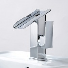 YDL-F-005-5 Single Handle Contemporary Solid Brass Waterfall Modeling Bathroom Sink Faucet - Silver