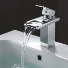 YDL-F-005-3 High Quality Contemporary Brass Waterfall Bathroom Sink Faucet - Silver