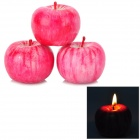 Lifelike Apple Shaped Candle for Home / Hotel - Red (3 PCS)