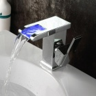 YDL-005-1 Blade Series LED RGB Color Changing Waterfall Bathroom Sink Faucet - Silver
