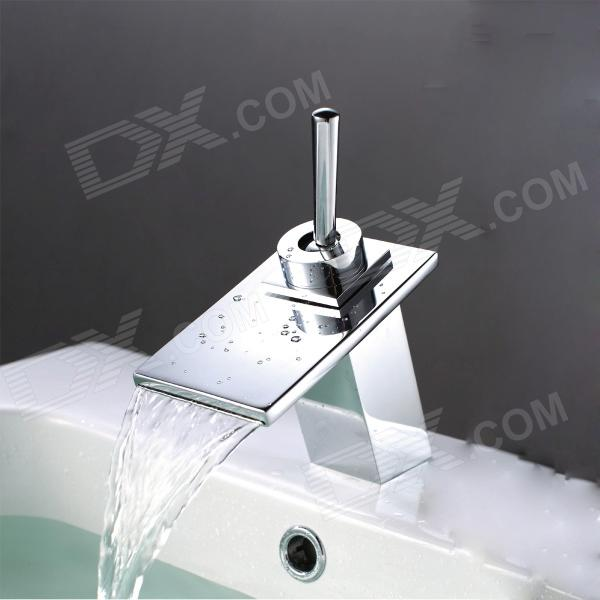 YDL-009-1 Contemporary Chrome Finish Water Fall Bathroom Sink Faucet - Silver