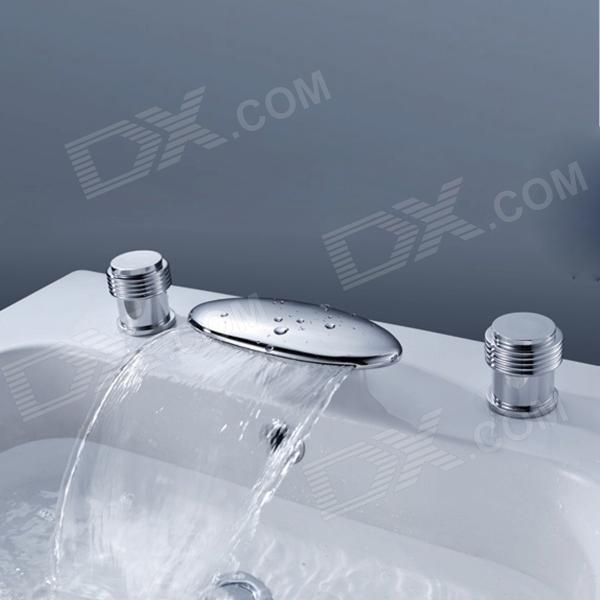 YDL-8006-1 Separated Type Chrome Finish Waterfall Widespread Bathroom Sink Faucet - Silver