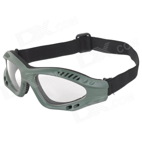 SW2088 Tactical Windproof Eye-Protection Goggles - Green + Transparent