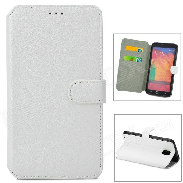 Simple Plain Flip-open PU Leather Case w/ Holder + Card Slot for Samsung NOTE 3 / N9000 - White stylish flip open pu leather case w holder card slot for samsung note 3 black