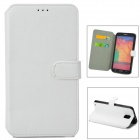 Simple Plain Flip-open PU Leather Case w/ Holder + Card Slot for Samsung NOTE 3 / N9000 - White