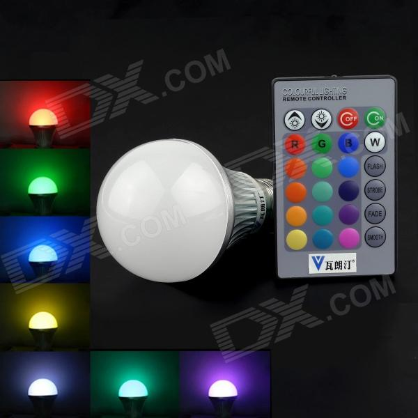 Walang Ting E27 5W 110lm RGB LED Remote Control Light - Silver + White (AC 90~260V) dhl free shipping factory wholesale super bright 38leds cordless battery remote control 16 colors change led light kit