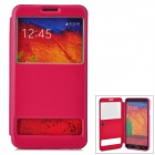 07 Classic Flip-open PU Leather Case w/ CID Window for Samsung Note 3 - Deep Pink