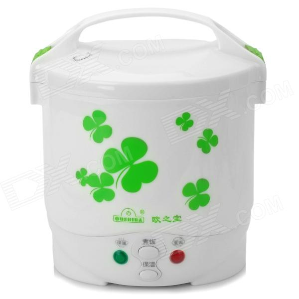 OUSHIBA C2A 22V 150W EU Plug Mini Electric Rice Cooker - White + Green (1L) mini electric pressure cooker intelligent timing pressure cooker reservation rice cooker travel stew pot 2l 110v 220v eu us plug
