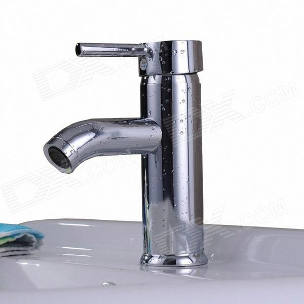 S7055a Contemporary Brass One Handle One Hole Hot Cold Water Bathroom Sink Faucet Silver