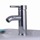 S7055A Contemporary Brass One Handle One Hole Hot / Cold Water Bathroom Sink Faucet - Silver