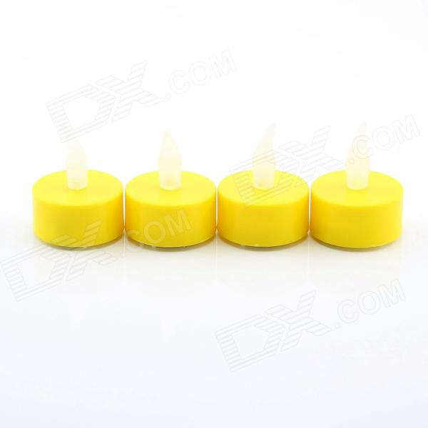 PZCD MY-04 Tine Style Flame Twinkle LED Candle w/ Yellow Light - Yellow (4 x CR2032 / 4 PCS)