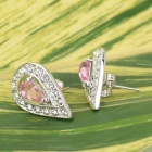 KCCHSTAR Water Drop 18K Platinum Crystal + Artificial Diamond Earrings - Pink + Silver (Pair)