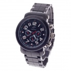 SPEATAK 60192G Men's Stainless Steel Band Quartz Wrist Watch w/ Date Display - Gun Black + White