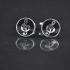DEDOCufflinks MG-113 Round High Notes Shirt Cufflinks - Black + Silver (2 PCS)