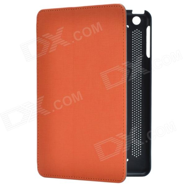 Stylish 2-Fold Protective PU Leather Case Cover Stand for Retina Ipad MINI - Deep Grey + Orange multi function pu leather case vent holes sound amplifier for ipad 3 4 orange