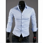 Stylish Men's Slim Fit Shirt - Light Blue (Size L)