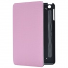 Stylish Protective PU Leather Case Cover Stand for Retina iPad Mini - Black + Pink