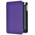 Stylish Protective PU Leather Case Cover Stand for Retina Ipad MINI - Black + Purple