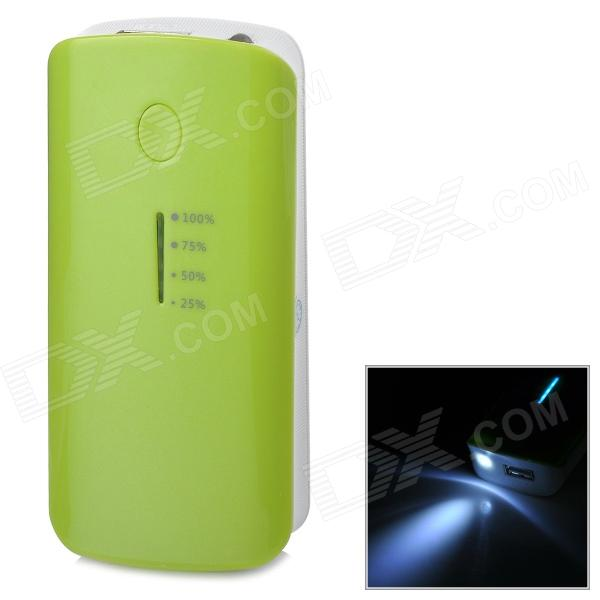 Portable 5600mAh Power Bank + USB Charging / Data Cable for Sony / HTC - Green + White portable 6000mah power bank w flashlight for mobile tablet pc more pink white