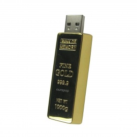 Ourspop U339 Stainless Steel Gold Bar USB 2.0 Flash Drive Stick - Golden (16GB)