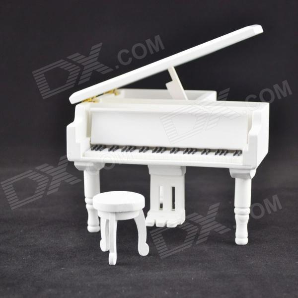 DEDO MG-346 Gifts Wooden Piano Music Box with Small Round Stool - White three hands box set of 3 wood dice white
