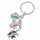 Lovely Fish Style Stainless Steel Keychain - Silver + Blue + Pink + Black