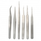 WLXY WL-15B Multi-Functional Stainless Steel 6-in-1 Repair Tweezers Set - Silver (6 PCS)