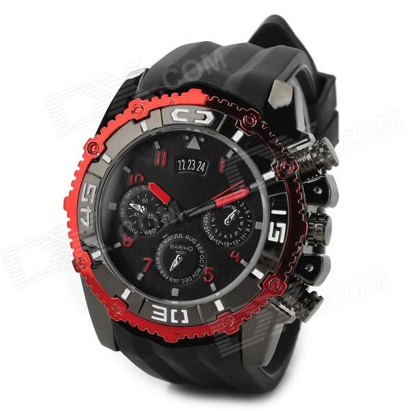 Polly Ho Mens Stylish Quartz Analog Wristwatch w/ Calendar - Red + Black (1 x 377) - DXMens Quartz Watches<br>Color Red + Black Brand Polly Ho Model NO Quantity 1 Piece Casing Material Zinc alloy Wristband Material Silicone Suitable for Adults Gender Men Style Wrist Watch Type Fashion watches Display Analog Movement Quartz Display Format 12 hour format Water Resistant Daily Water Resistant (not for Swimming) Dial Diameter 3 cm Dial Thickness 1 cm Wristband Length 25 cm Band Width 2.5 cm Battery 1 x 377 (included) Packing List 1 x Wristwatch<br>