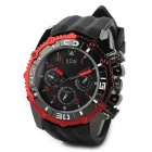 Polly Ho Men's Stylish Quartz Analog Wristwatch w/ Calendar - Red + Black (1 x 377)