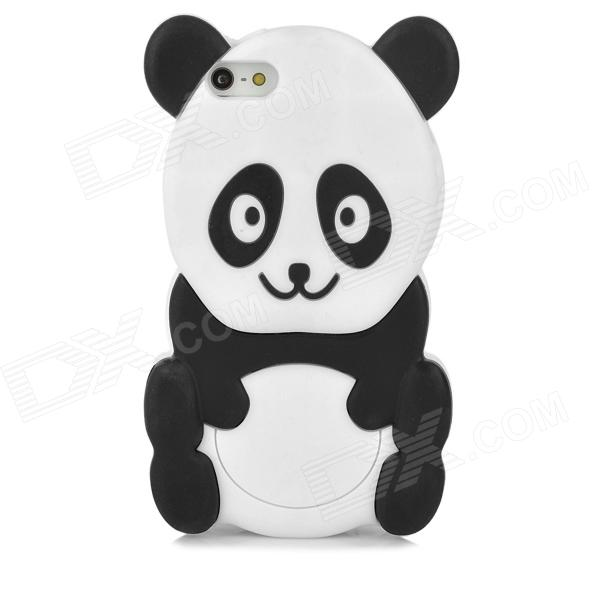 Cute Cartoon Panda Style Protective Silione Back Case for Iphone 5 - White + Black cute marshmallow style silicone back case for iphone 5 5s yellow white