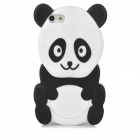 Cute Cartoon Panda Style Protective Silione Back Case for Iphone 5 - White + Black