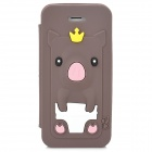 Cute Pig Style Protective Silicone Back Case for Iphone 5 / Iphone 5S - Deep Brown