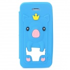Cute Crown Pig Style Silicone Protective Flip Open Case for Iphone 5 / 5s - Sapphire Blue