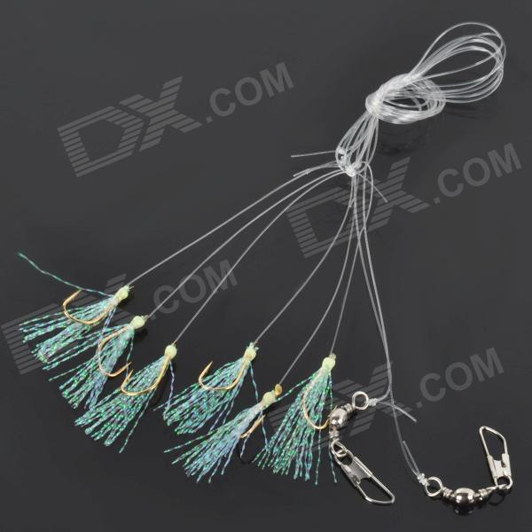 Flowing Decorative Strings Fishing Hook & Wire Set - Golden + Green