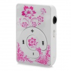 KD-MP3-31-Hongse reproductor MP3 patrón de flor w / TF - blanco + color rosa oscuro