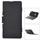 External 3500mAh Backup Battery + PU Flip-Open Case w/ Stand for Sony L39H - Black